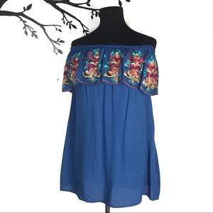 Blue Off The Shoulder Cover Up Dress Blue Gypsy